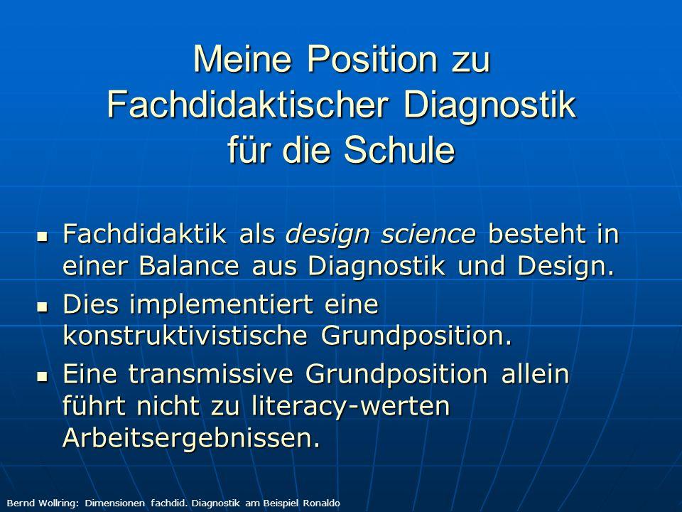 Meine Position zu Fachdidaktischer Diagnostik für die Schule