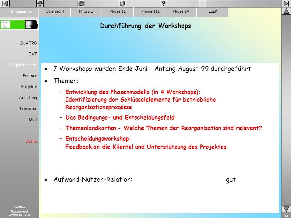 Durchführung der Workshops