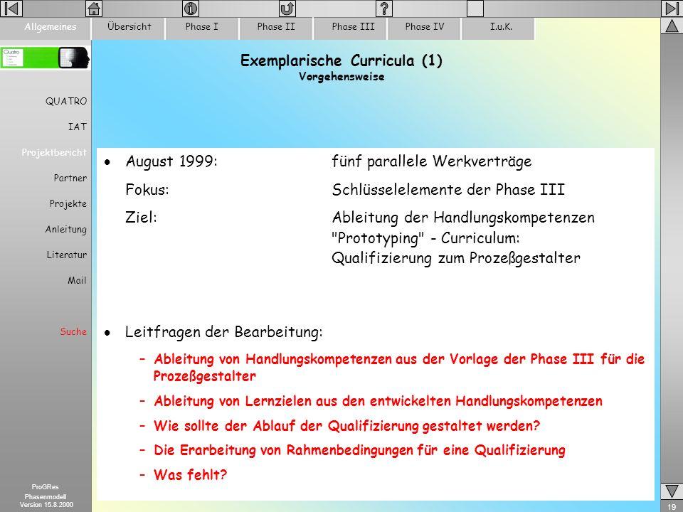 Exemplarische Curricula (1) Vorgehensweise