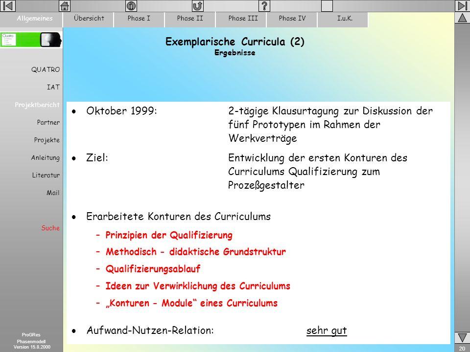 Exemplarische Curricula (2) Ergebnisse
