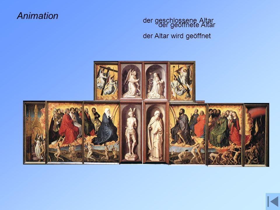 Animation der geschlossene Altar der geöffnete Altar
