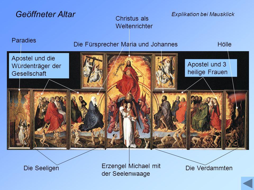 Geöffneter Altar Christus als Weltenrichter Paradies