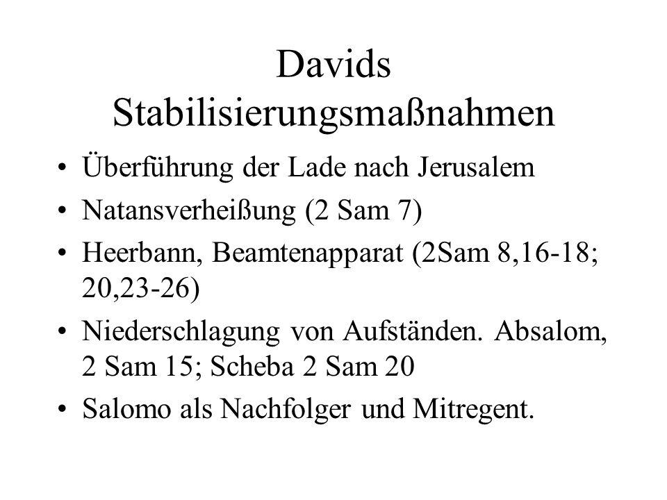 Davids Stabilisierungsmaßnahmen