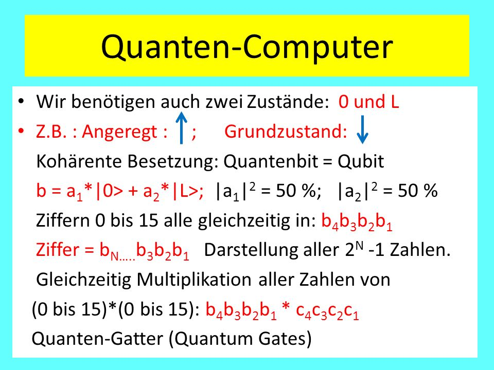 Quanten-Computer Wir benötigen auch zwei Zustände: 0 und L