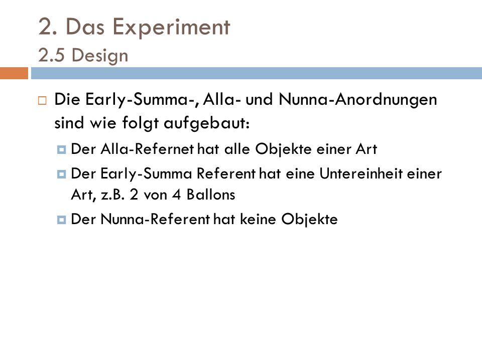 2. Das Experiment 2.5 Design Die Early-Summa-, Alla- und Nunna-Anordnungen sind wie folgt aufgebaut: