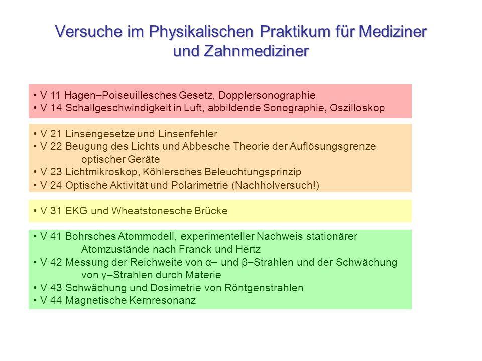 Versuche im Physikalischen Praktikum für Mediziner und Zahnmediziner