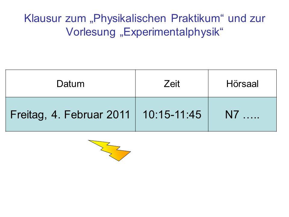 """Klausur zum """"Physikalischen Praktikum und zur Vorlesung """"Experimentalphysik"""