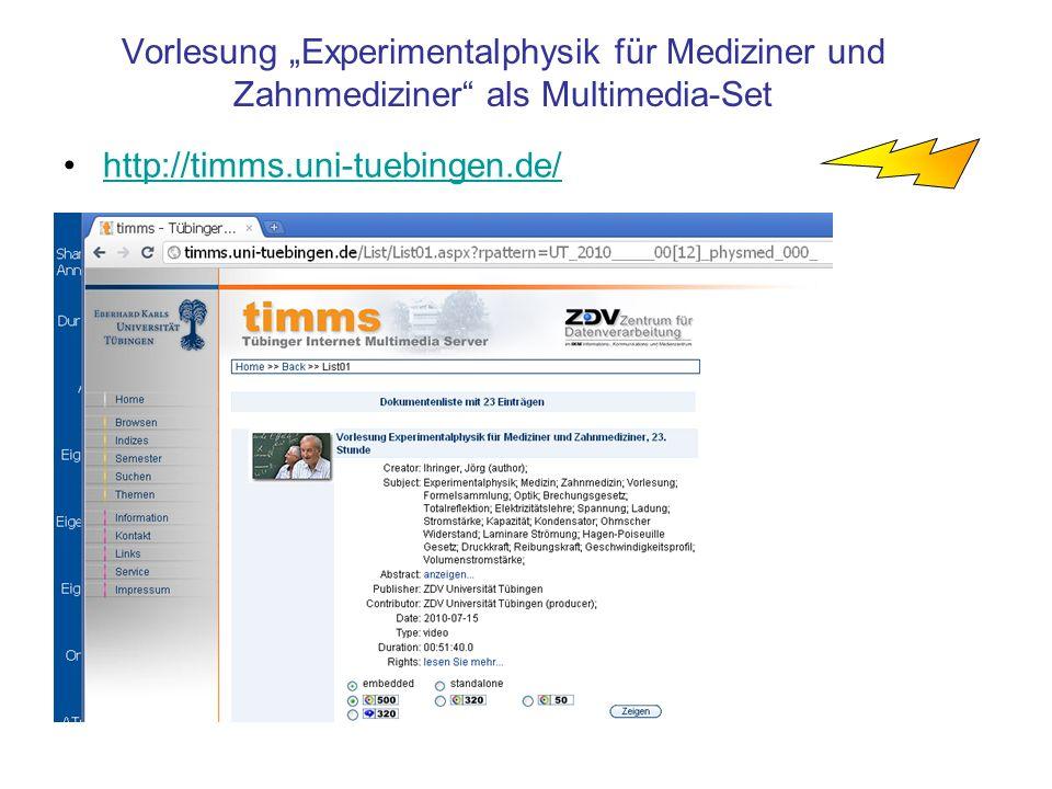 """Vorlesung """"Experimentalphysik für Mediziner und Zahnmediziner als Multimedia-Set"""
