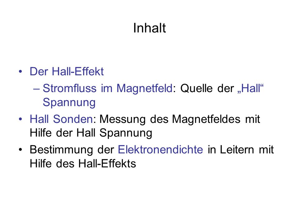 Inhalt Der Hall-Effekt