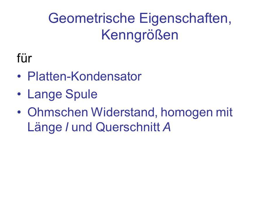 Geometrische Eigenschaften, Kenngrößen