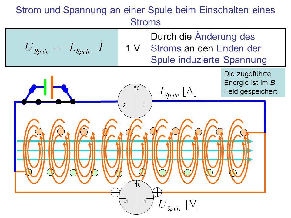 Strom und Spannung an einer Spule beim Einschalten eines Stroms