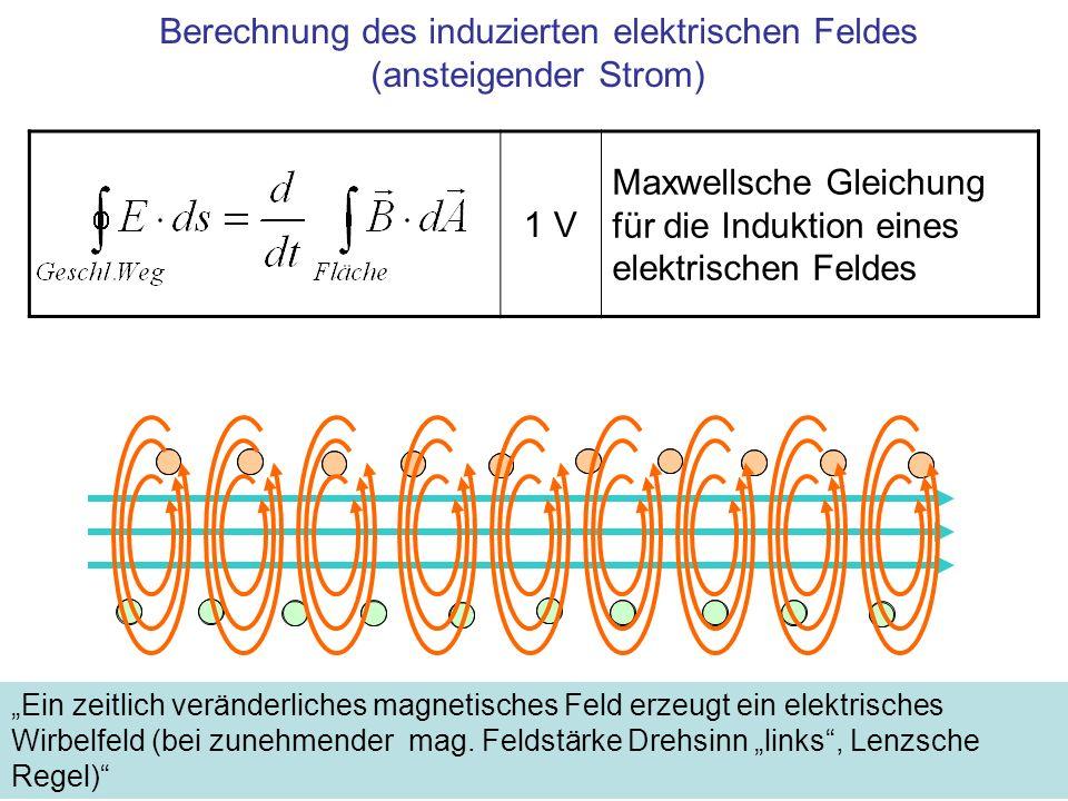 Berechnung des induzierten elektrischen Feldes (ansteigender Strom)