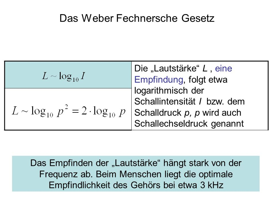 Das Weber Fechnersche Gesetz