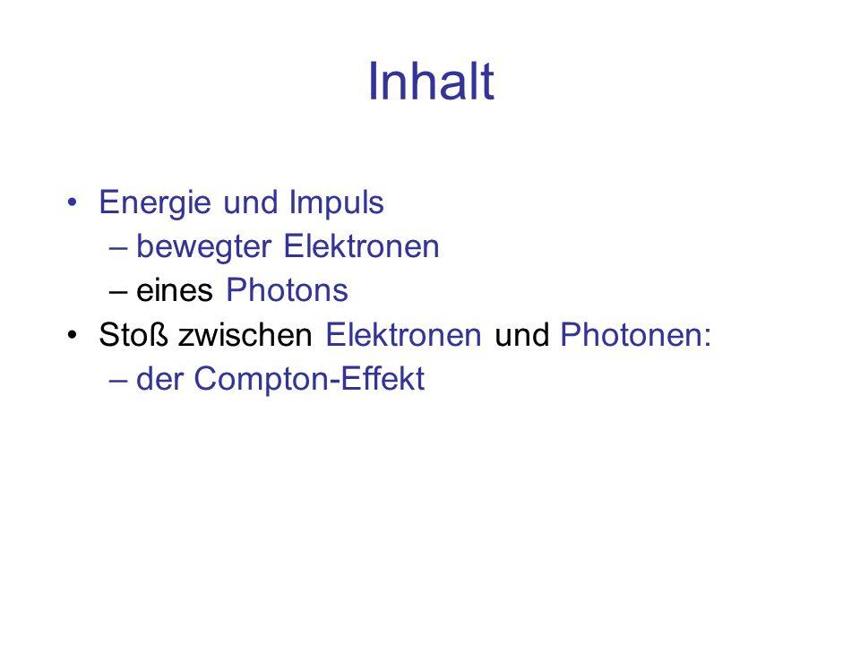 Inhalt Energie und Impuls bewegter Elektronen eines Photons