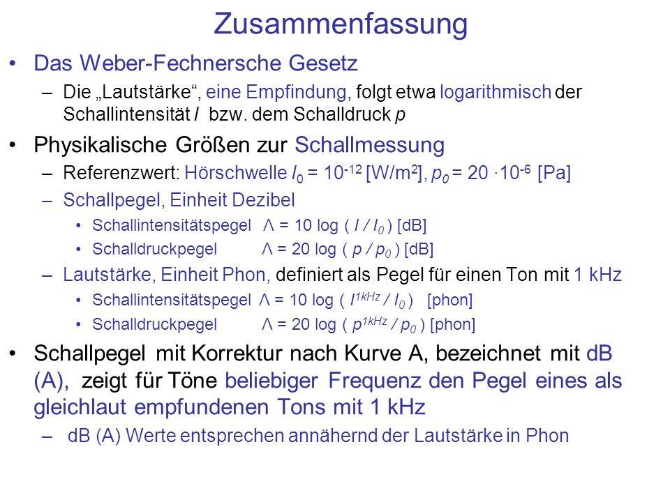 Zusammenfassung Das Weber-Fechnersche Gesetz