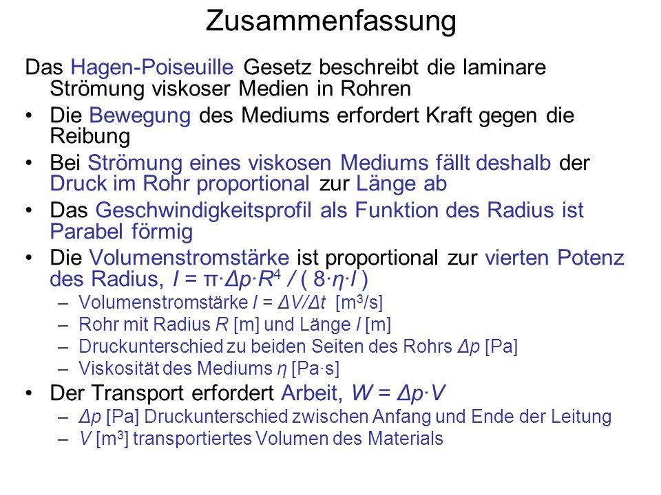 Zusammenfassung Das Hagen-Poiseuille Gesetz beschreibt die laminare Strömung viskoser Medien in Rohren.