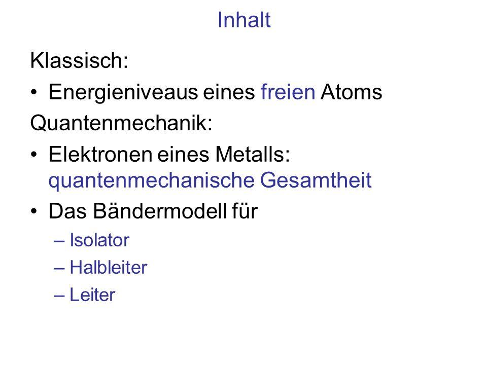 Energieniveaus eines freien Atoms Quantenmechanik: