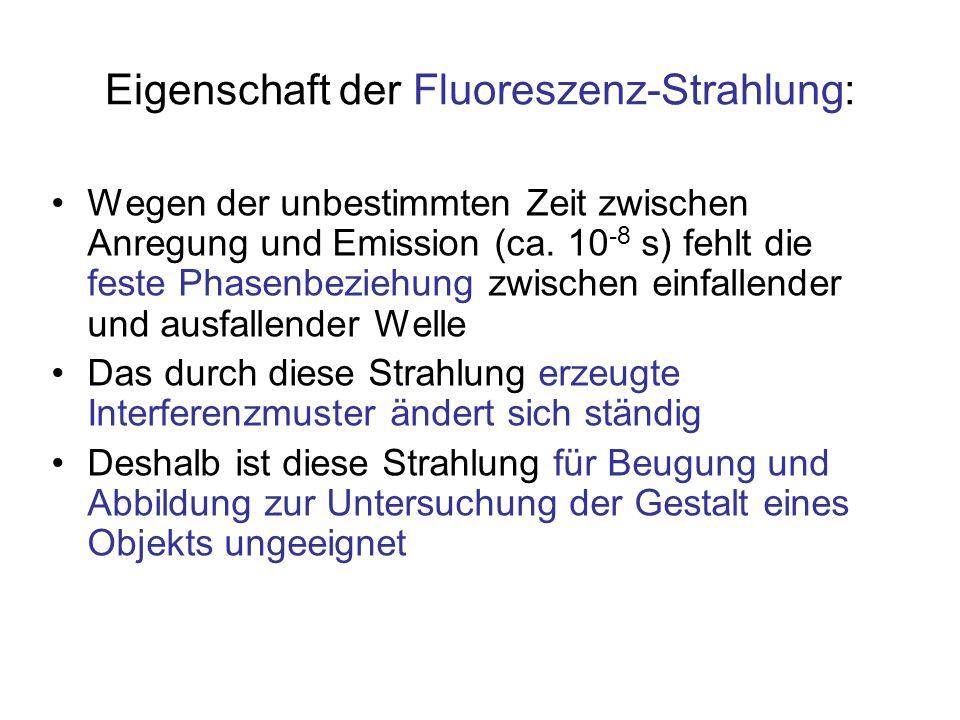 Eigenschaft der Fluoreszenz-Strahlung: