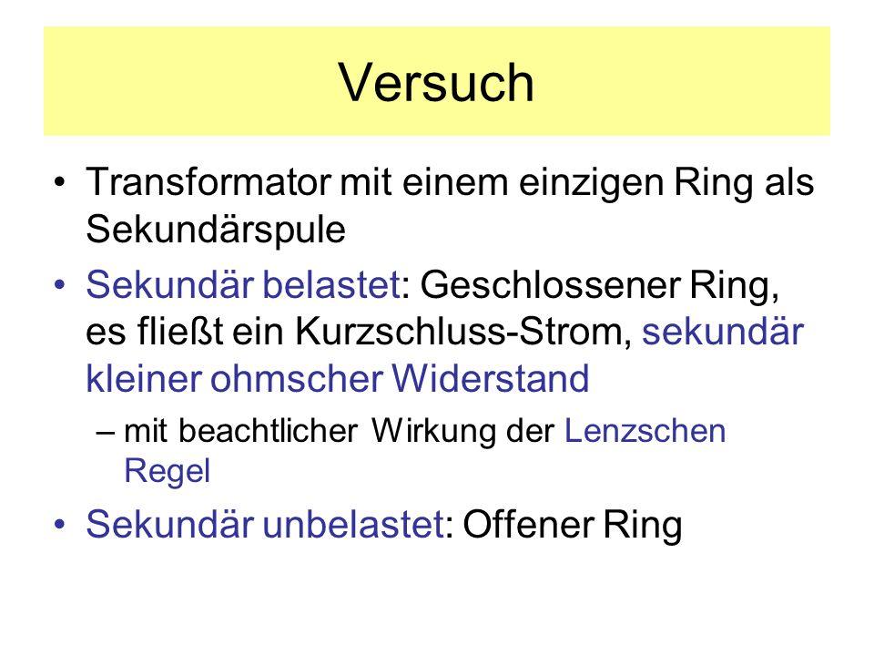 Versuch Transformator mit einem einzigen Ring als Sekundärspule