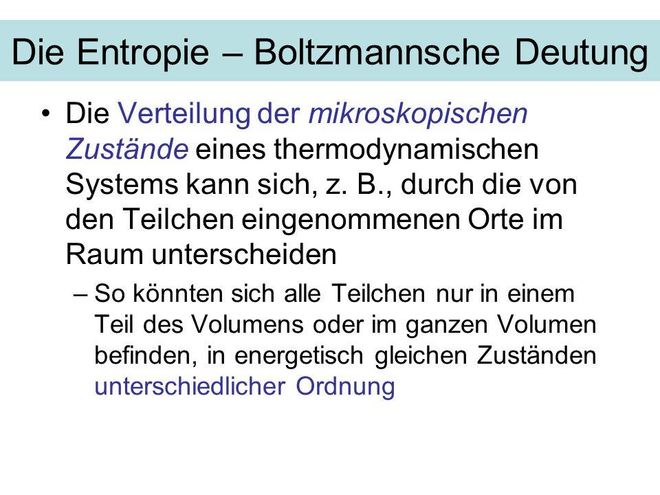 Die Entropie – Boltzmannsche Deutung