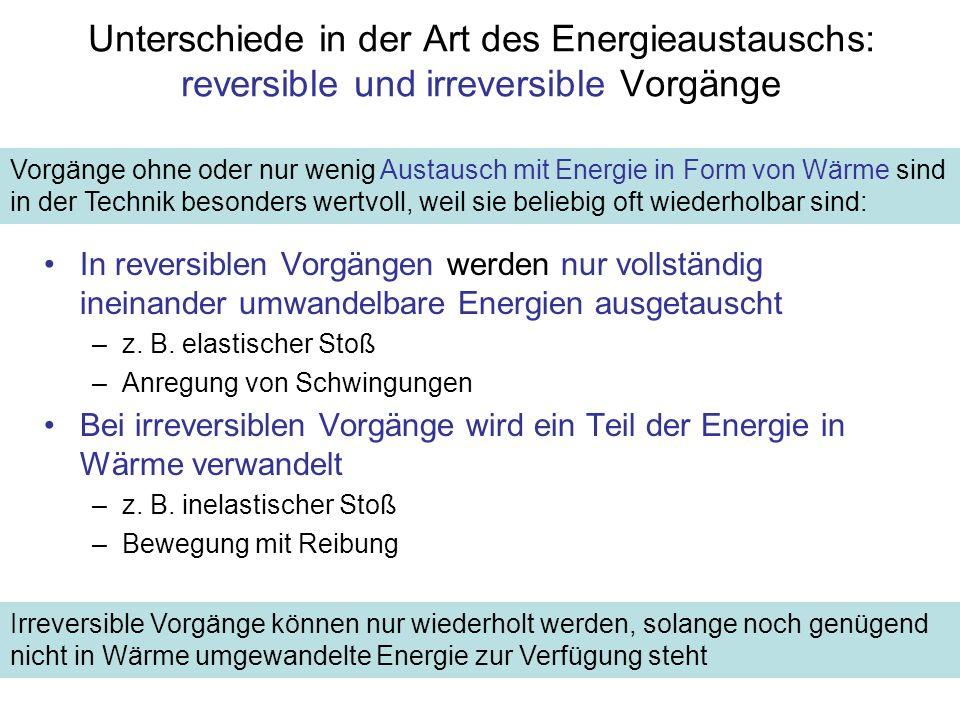 Unterschiede in der Art des Energieaustauschs: reversible und irreversible Vorgänge
