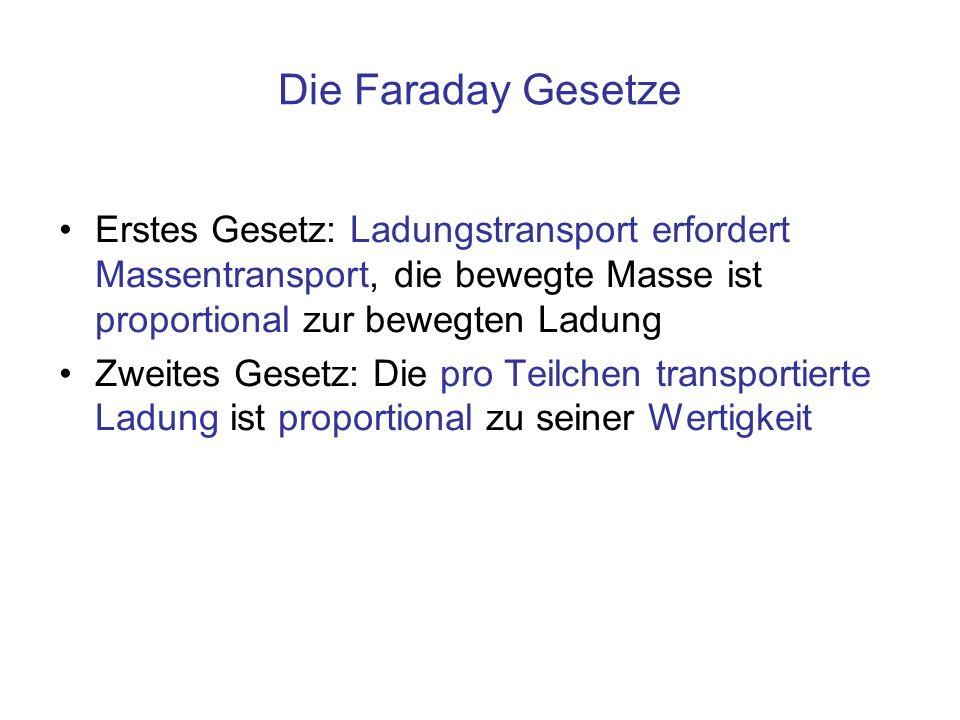Die Faraday Gesetze Erstes Gesetz: Ladungstransport erfordert Massentransport, die bewegte Masse ist proportional zur bewegten Ladung.