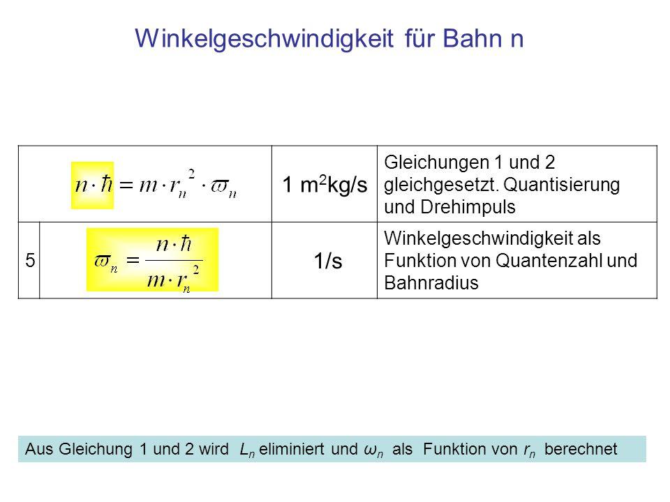 Winkelgeschwindigkeit für Bahn n