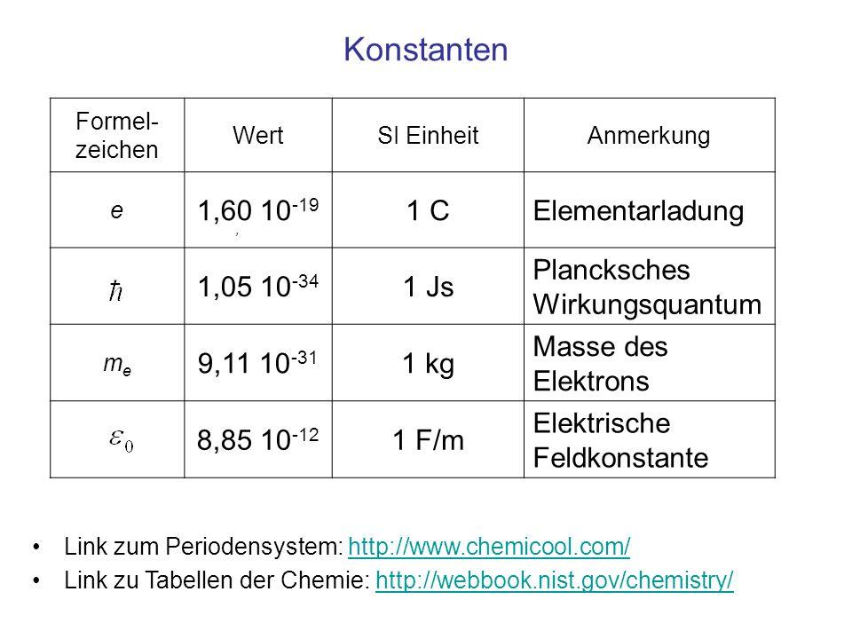 Konstanten 1,60 10-19 1 C Elementarladung 1,05 10-34 1 Js