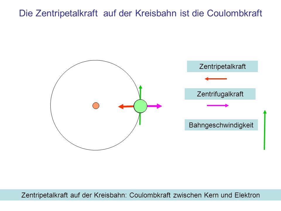 Die Zentripetalkraft auf der Kreisbahn ist die Coulombkraft