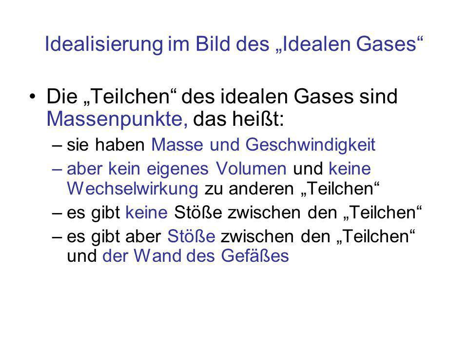 """Idealisierung im Bild des """"Idealen Gases"""