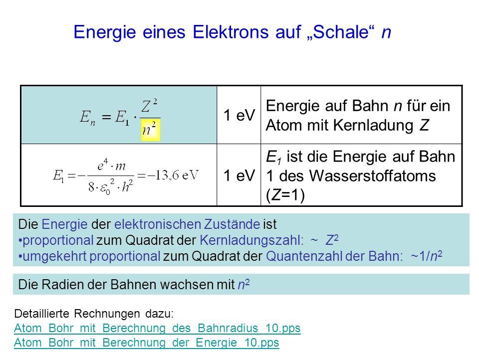 """Energie eines Elektrons auf """"Schale n"""