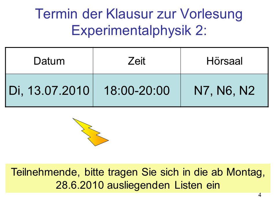 Termin der Klausur zur Vorlesung Experimentalphysik 2: