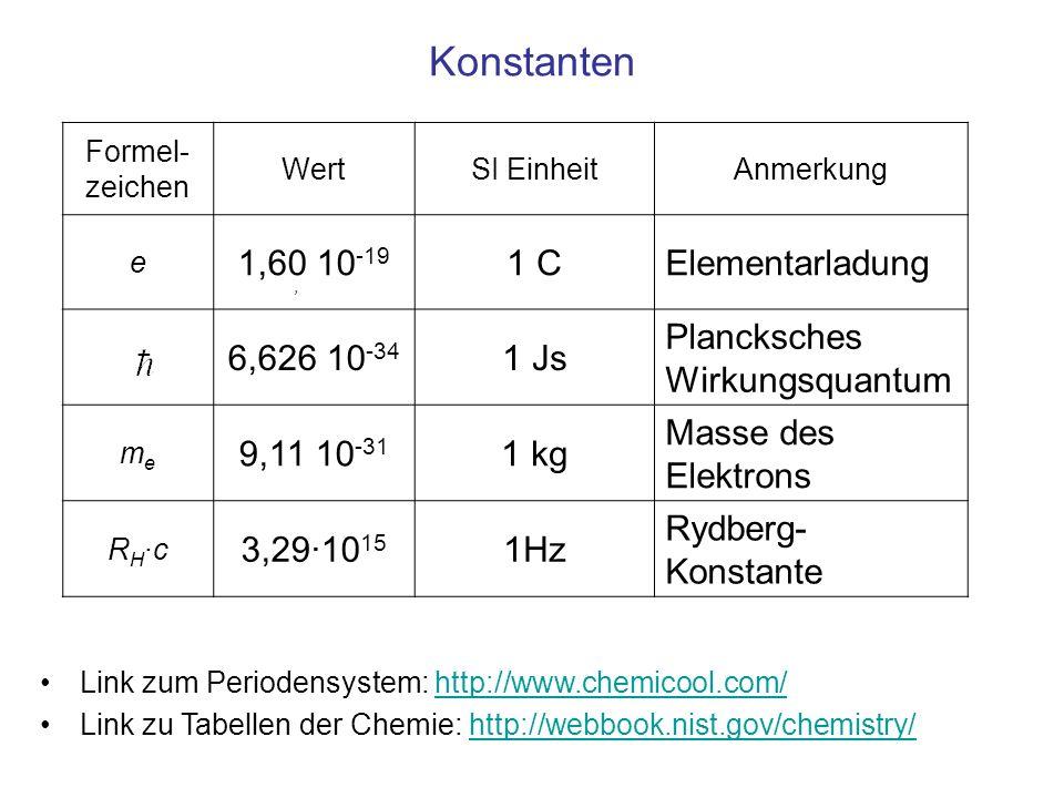 Konstanten 1,60 10-19 1 C Elementarladung 6,626 10-34 1 Js
