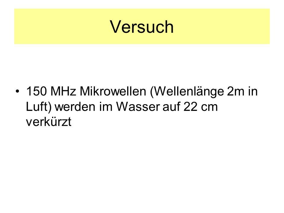 Versuch 150 MHz Mikrowellen (Wellenlänge 2m in Luft) werden im Wasser auf 22 cm verkürzt