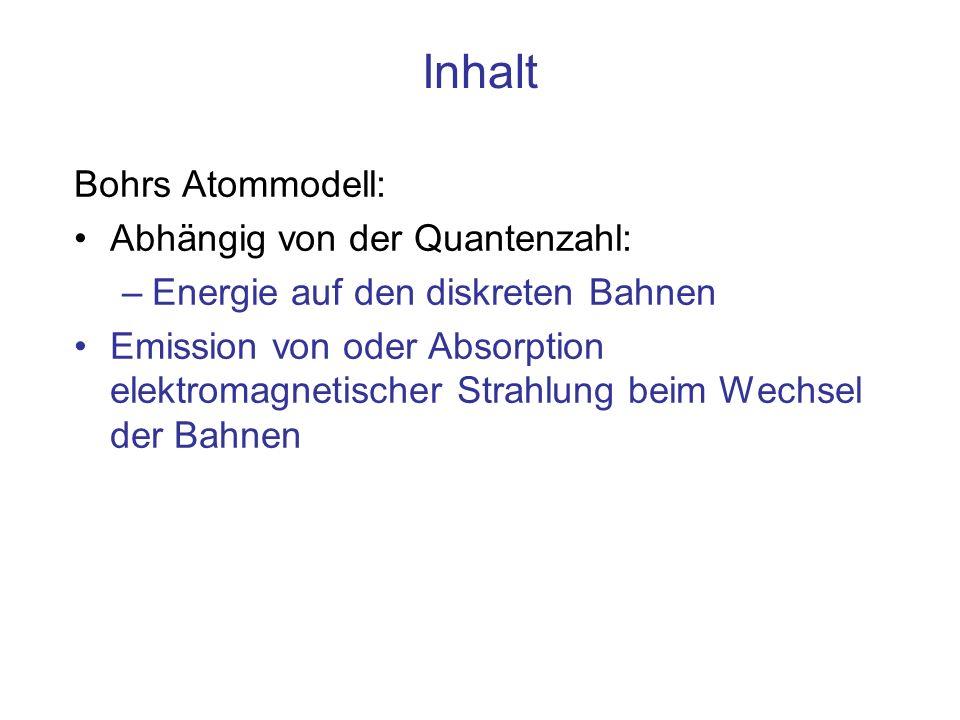 Inhalt Bohrs Atommodell: Abhängig von der Quantenzahl: