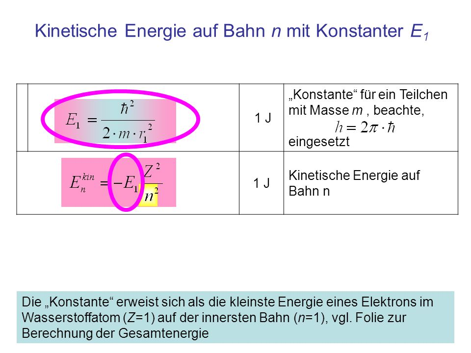 Kinetische Energie auf Bahn n mit Konstanter E1