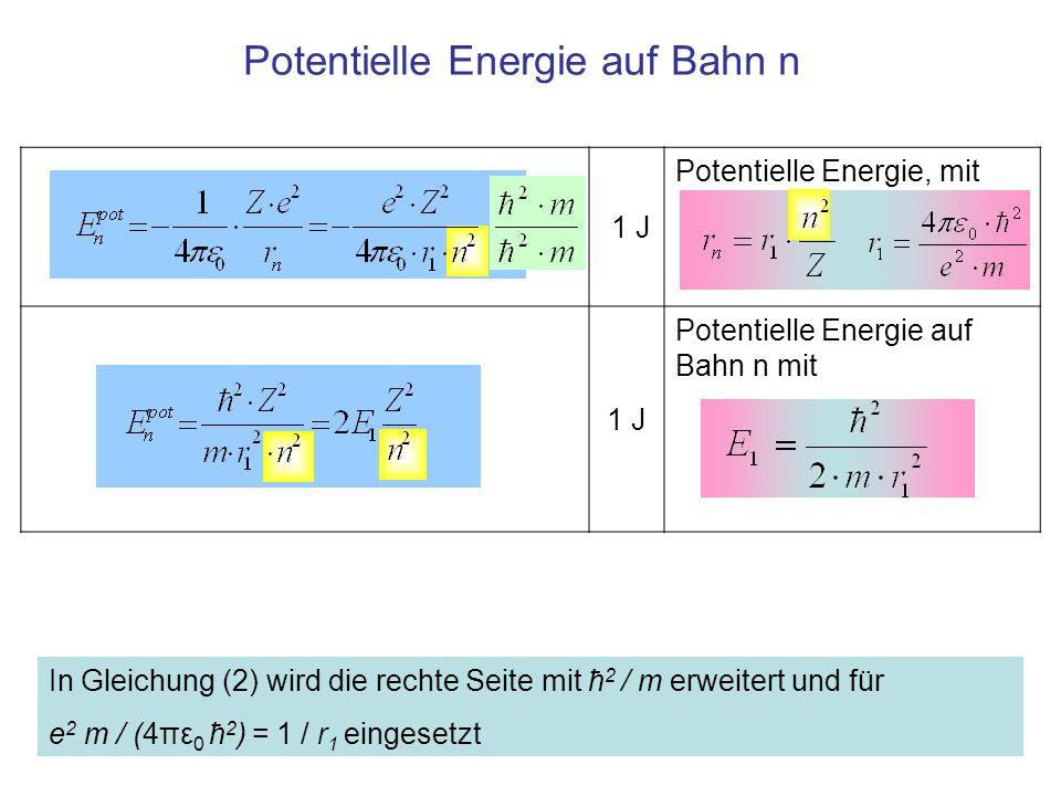 Potentielle Energie auf Bahn n