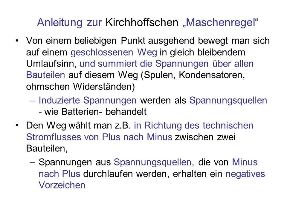 """Anleitung zur Kirchhoffschen """"Maschenregel"""