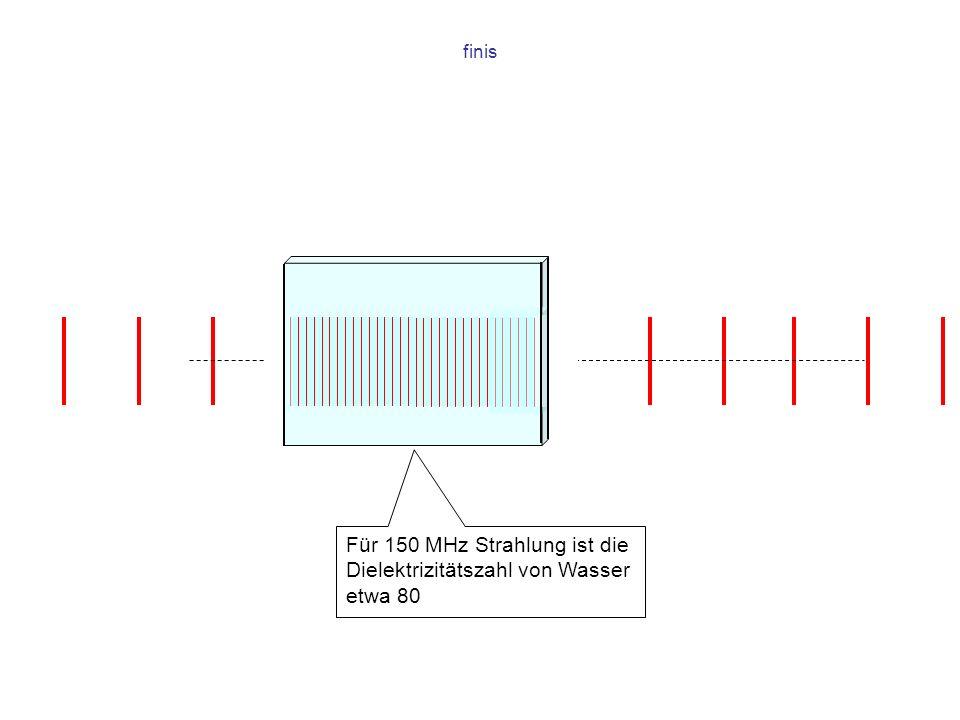 Für 150 MHz Strahlung ist die Dielektrizitätszahl von Wasser etwa 80