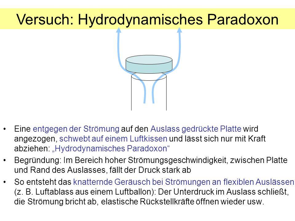 Versuch: Hydrodynamisches Paradoxon