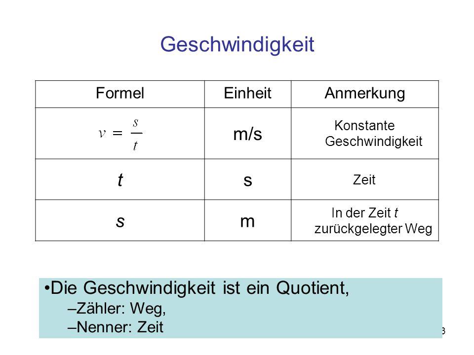 Geschwindigkeit m/s t s m Die Geschwindigkeit ist ein Quotient, Formel
