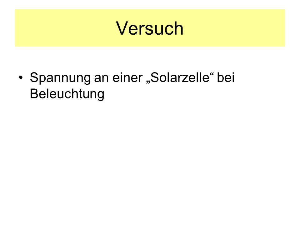 """Versuch Spannung an einer """"Solarzelle bei Beleuchtung"""