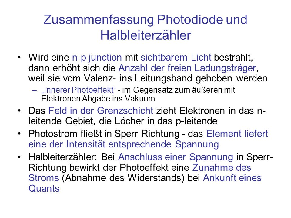 Zusammenfassung Photodiode und Halbleiterzähler