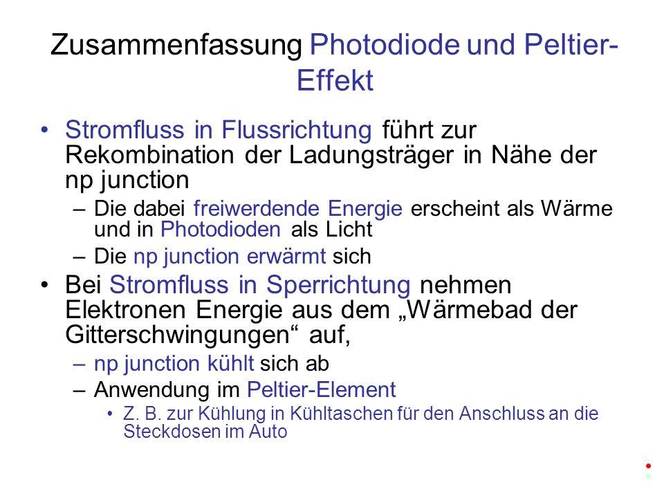 Zusammenfassung Photodiode und Peltier-Effekt