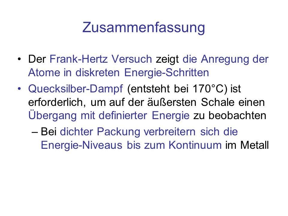 Zusammenfassung Der Frank-Hertz Versuch zeigt die Anregung der Atome in diskreten Energie-Schritten.