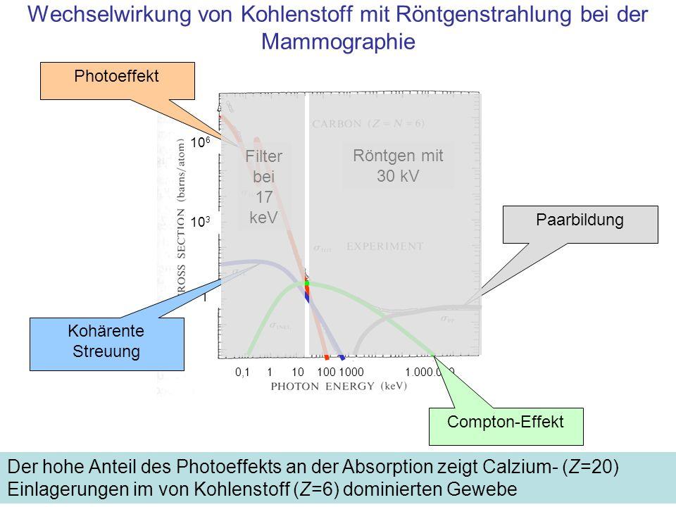 Wechselwirkung von Kohlenstoff mit Röntgenstrahlung bei der Mammographie