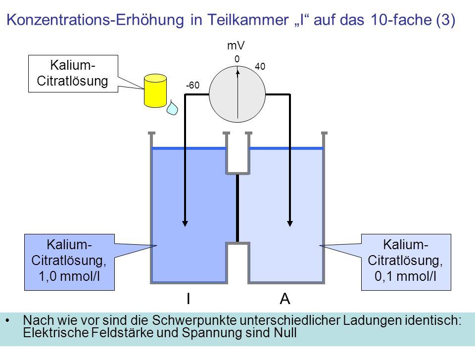 """Konzentrations-Erhöhung in Teilkammer """"I auf das 10-fache (3)"""