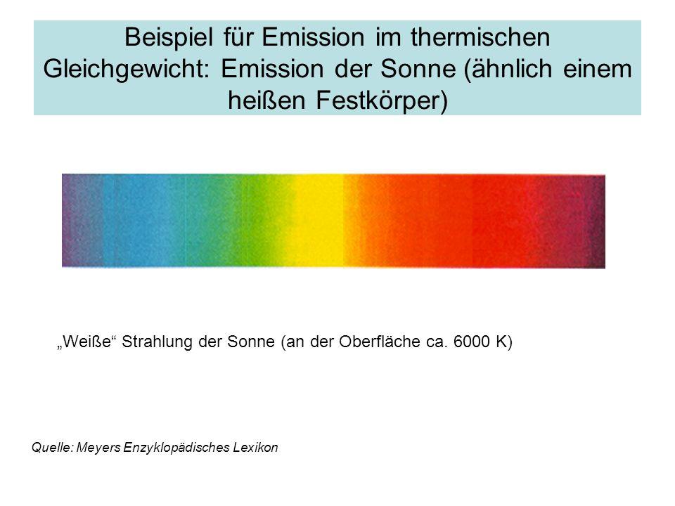 Beispiel für Emission im thermischen Gleichgewicht: Emission der Sonne (ähnlich einem heißen Festkörper)