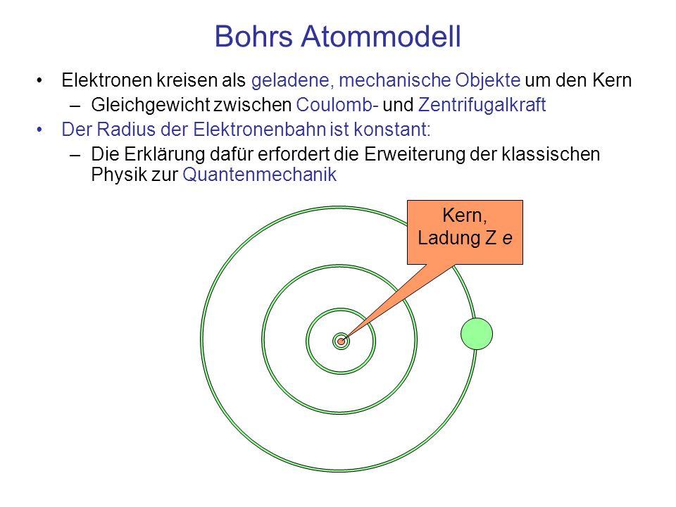 Bohrs AtommodellElektronen kreisen als geladene, mechanische Objekte um den Kern. Gleichgewicht zwischen Coulomb- und Zentrifugalkraft.