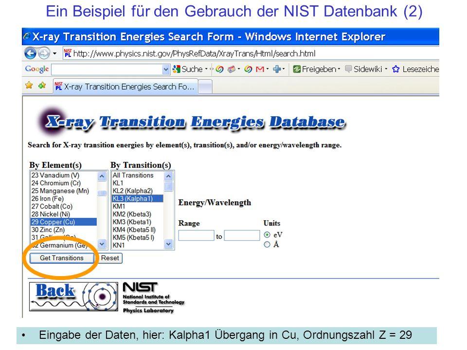 Ein Beispiel für den Gebrauch der NIST Datenbank (2)